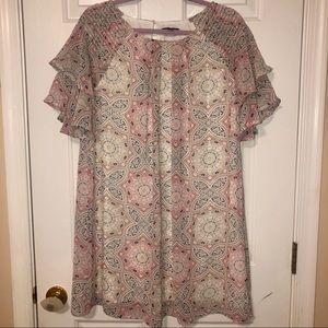 Light Pink & Cream Ruffle Sleeve Printed Dress